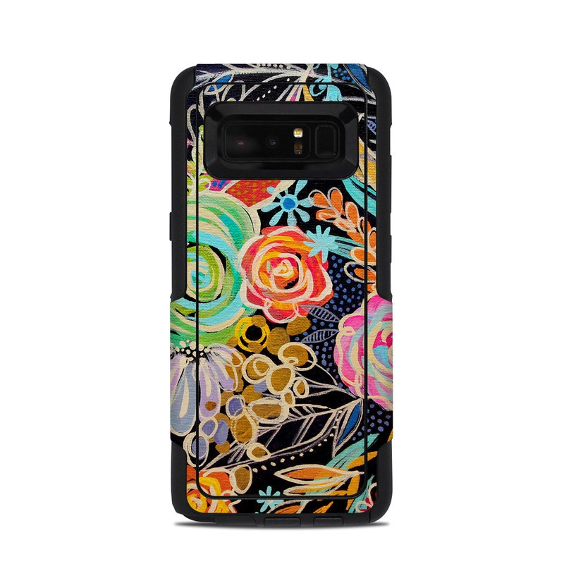 OtterBox Commuter Galaxy Note 8 Case Skin design of Pattern, Floral design, Design, Textile, Visual arts, Art, Graphic design, Psychedelic art, Plant with black, gray, green, red, blue colors