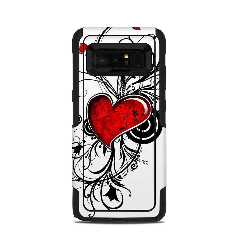 OtterBox Commuter Galaxy Note 8 Case Skin design of Heart, Line art, Love, Clip art, Plant, Graphic design, Illustration with white, gray, black, red colors