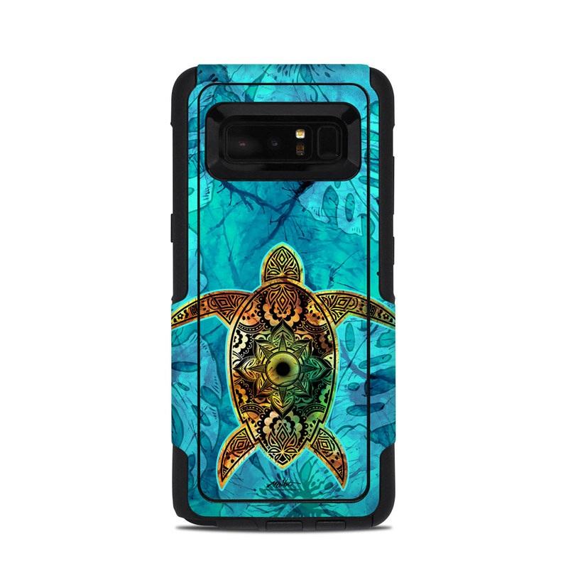 OtterBox Commuter Galaxy Note 8 Case Skin design of Sea turtle, Green sea turtle, Turtle, Hawksbill sea turtle, Tortoise, Reptile, Loggerhead sea turtle, Illustration, Art, Pattern with blue, black, green, gray, red colors