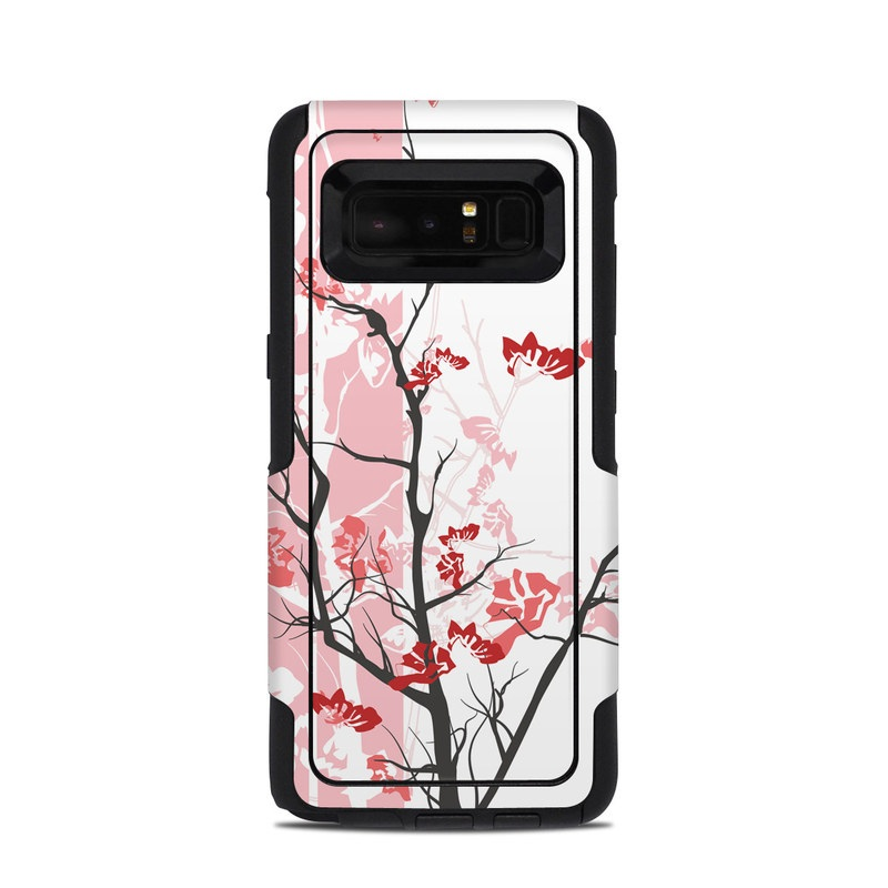 OtterBox Commuter Galaxy Note 8 Case Skin design of Branch, Red, Flower, Plant, Tree, Twig, Blossom, Botany, Pink, Spring with white, pink, gray, red, black colors