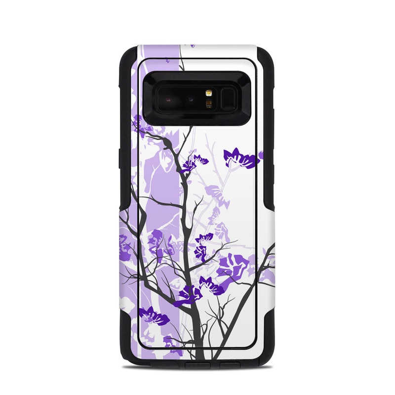 OtterBox Commuter Galaxy Note 8 Case Skin design of Branch, Purple, Violet, Lilac, Lavender, Plant, Twig, Flower, Tree, Wildflower with white, purple, gray, pink, black colors