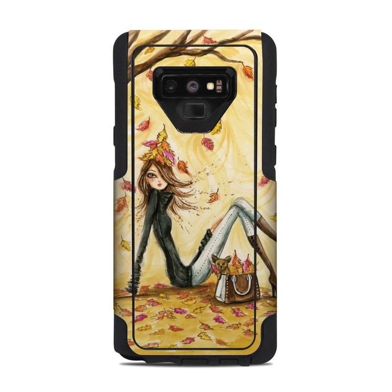 OtterBox Commuter Galaxy Note 9 Case Skin design of Painting, Watercolor paint, Tree, Art, Illustration, Plant, Modern art, Visual arts, Still life, Fictional character with yellow, red, brown, orange, black, white colors