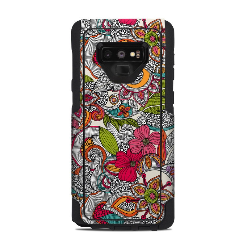 OtterBox Commuter Galaxy Note 9 Case Skin design of Pattern, Drawing, Visual arts, Art, Design, Doodle, Floral design, Motif, Illustration, Textile with gray, red, black, green, purple, blue colors