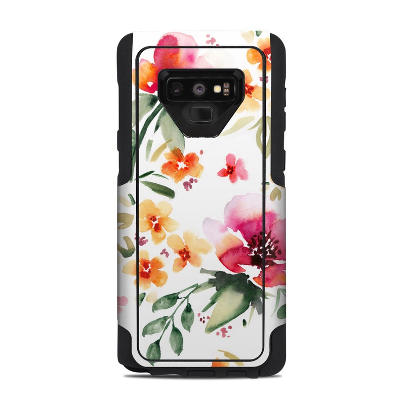 OtterBox Commuter Galaxy Note 9 Case Skin design of Flower, Floral design, Pink, Pattern, Petal, Plant, Botany, Design, Wildflower, Clip art with white, pink, red, orange, green colors