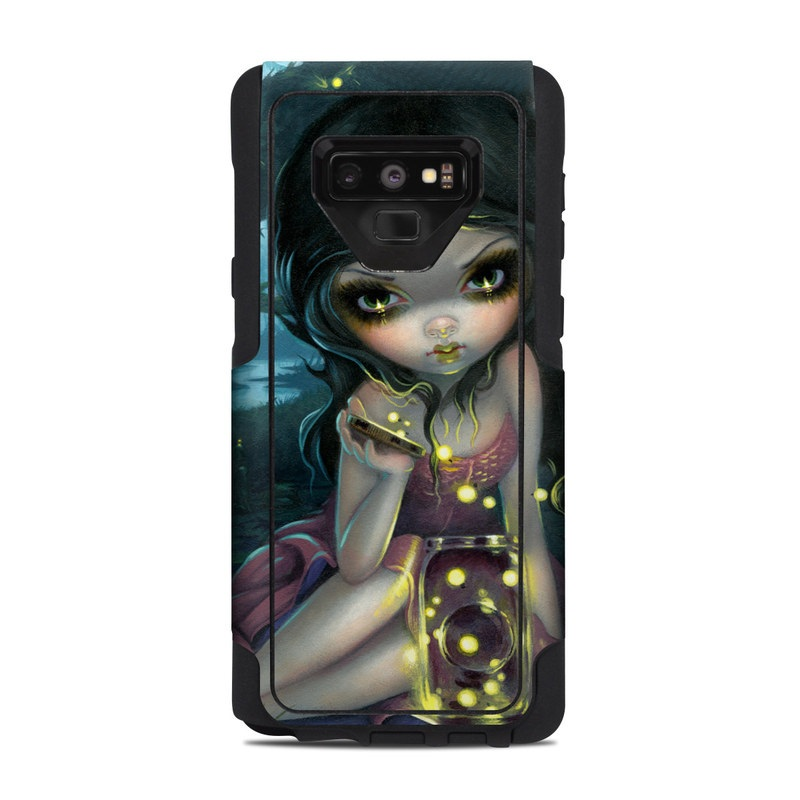 OtterBox Commuter Galaxy Note 9 Case Skin design of Cg artwork, Illustration, Fictional character, Art, Iris, Black hair, Fawn, Mythology, Fiction with blue, green, pink, yellow, black, white colors