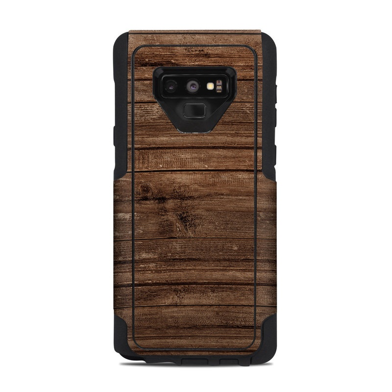 OtterBox Commuter Galaxy Note 9 Case Skin design of Wood, Brown, Wood stain, Plank, Hardwood, Wood flooring, Line, Pattern, Floor, Flooring with brown colors