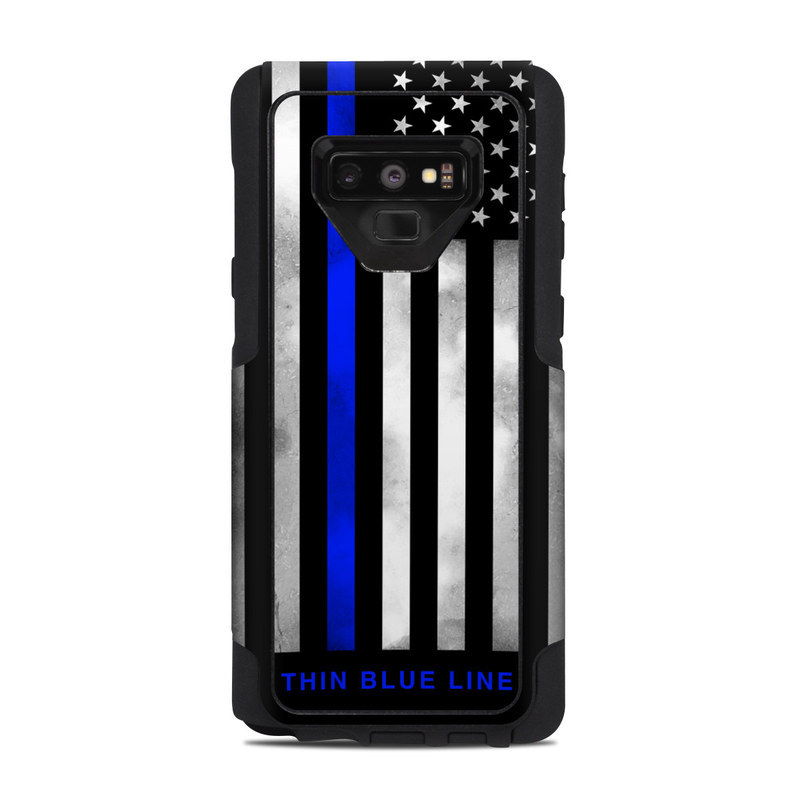 OtterBox Commuter Galaxy Note 9 Case Skin design of Line, Flag, Text, Flag of the united states, Font, Parallel, Symmetry, Black-and-white, Pattern, Graphics with black, white, gray, blue colors