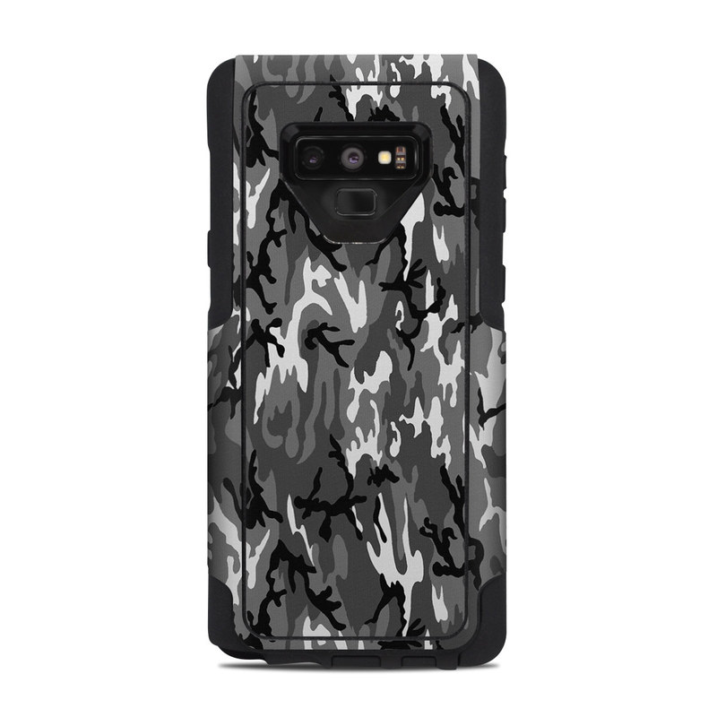 OtterBox Commuter Galaxy Note 9 Case Skin design of Military camouflage, Pattern, Clothing, Camouflage, Uniform, Design, Textile with black, gray colors