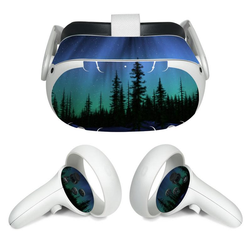 Oculus Quest 2 Skin design of Aurora, Nature, Sky, shortleaf black spruce, Natural landscape, Tree, Wilderness, Natural environment, Biome, Spruce-fir forest with blue, purple, green, black colors