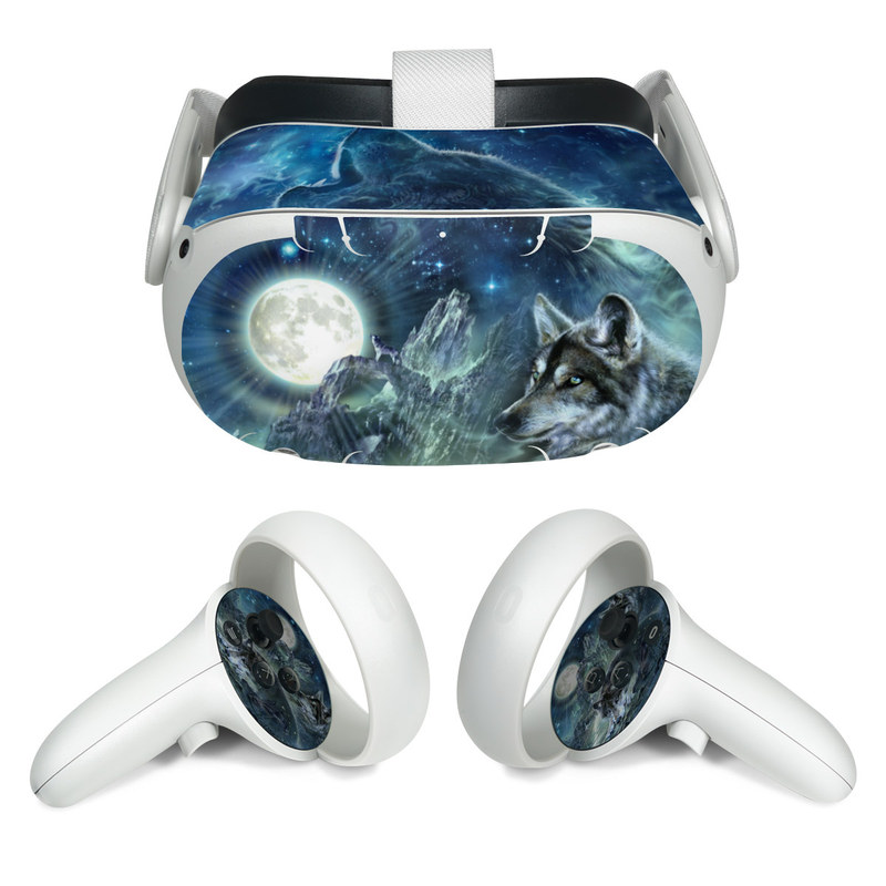 Oculus Quest 2 Skin design of Cg artwork, Fictional character, Darkness, Werewolf, Illustration, Wolf, Mythical creature, Graphic design, Dragon, Mythology with black, blue, gray, white colors