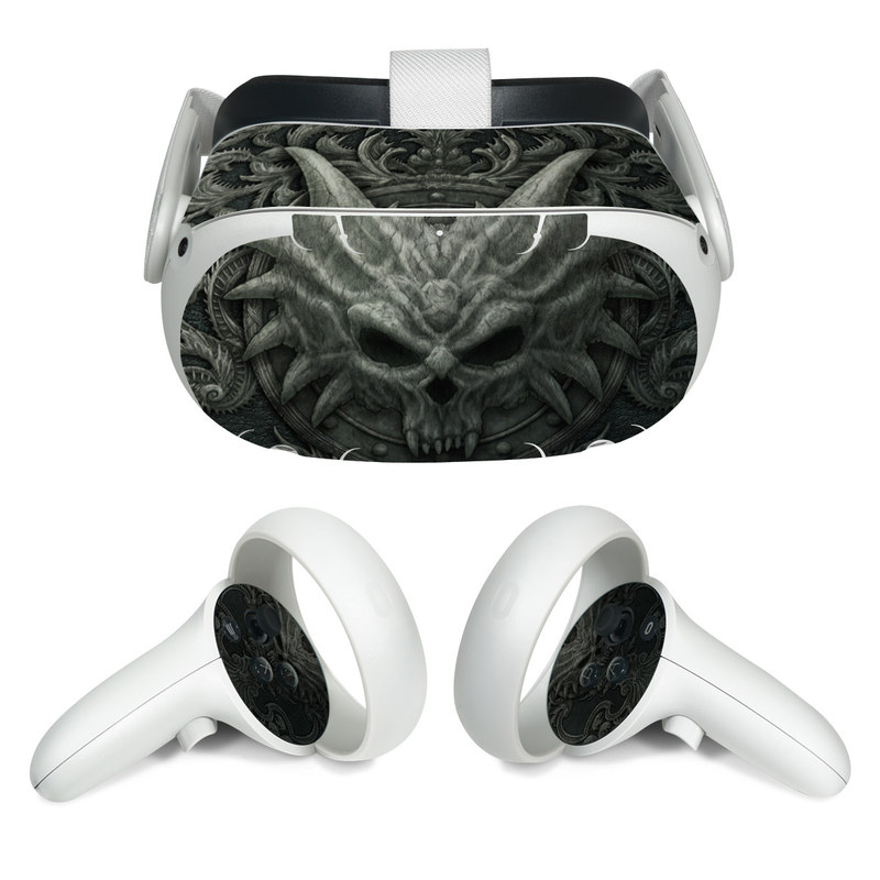 Oculus Quest 2 Skin design of Demon, Dragon, Fictional character, Illustration, Supernatural creature, Drawing, Symmetry, Art, Mythology, Mythical creature with black, gray colors