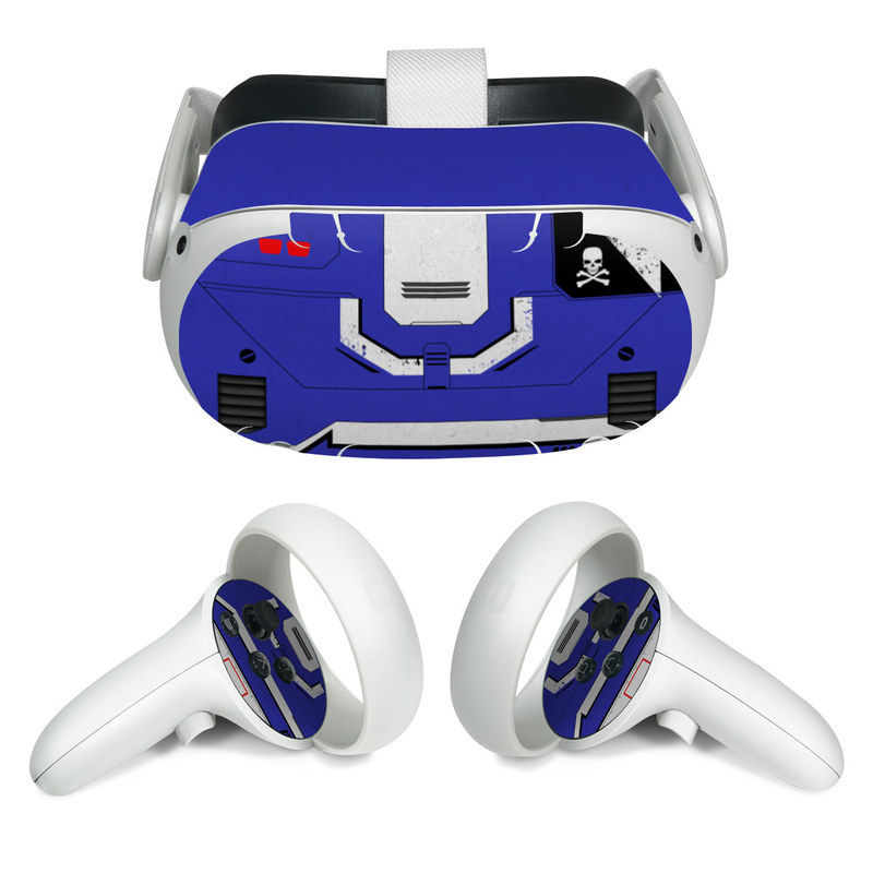 Oculus Quest 2 Skin design of Floppy disk, Technology, Electric blue, Fictional character with white, blue, black, gray colors