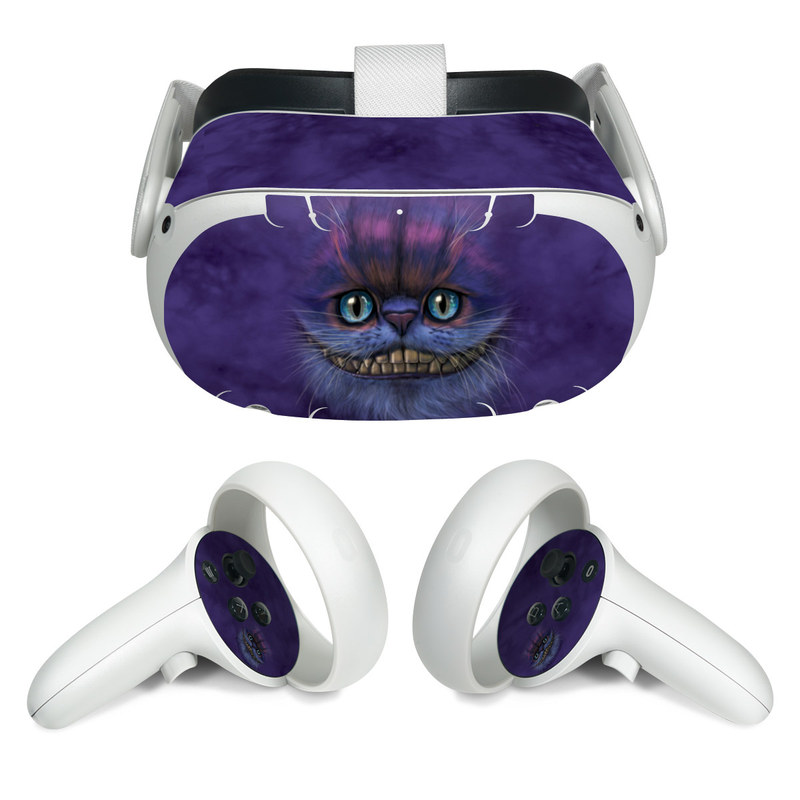 Oculus Quest 2 Skin design of Cat, Whiskers, Felidae, Small to medium-sized cats, Snout, Eye, Illustration, Ojos azules, Black cat, Carnivore with purple, blue colors