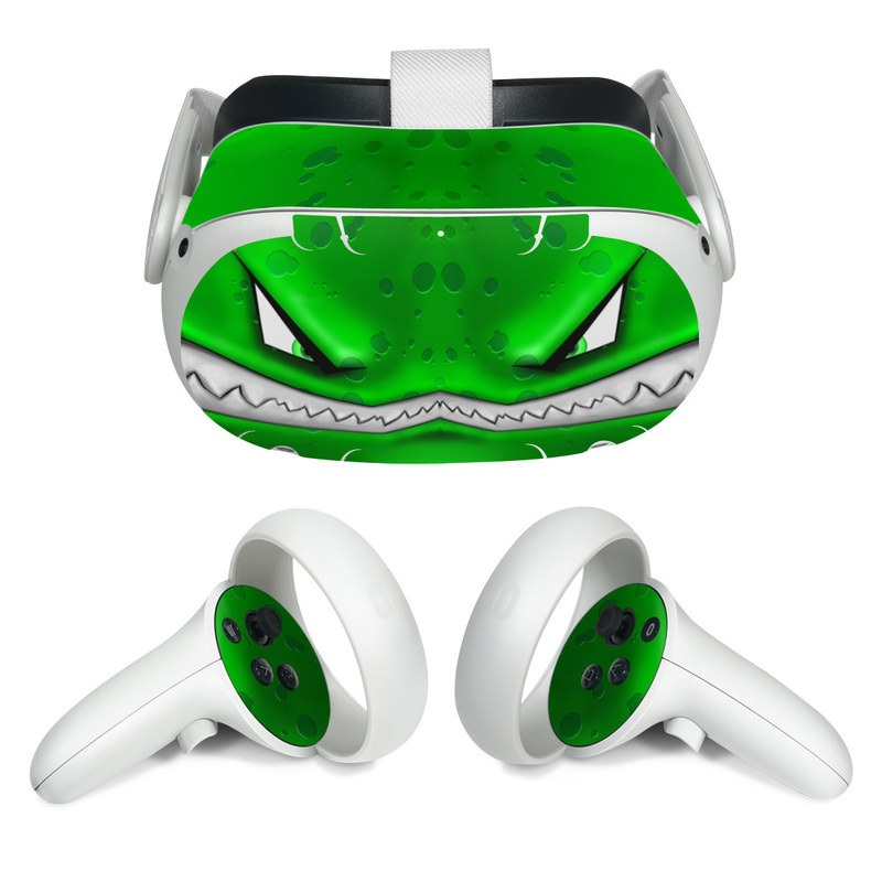 Oculus Quest 2 Skin design of Green, Font, Animation, Logo, Graphics, Games with green, white colors