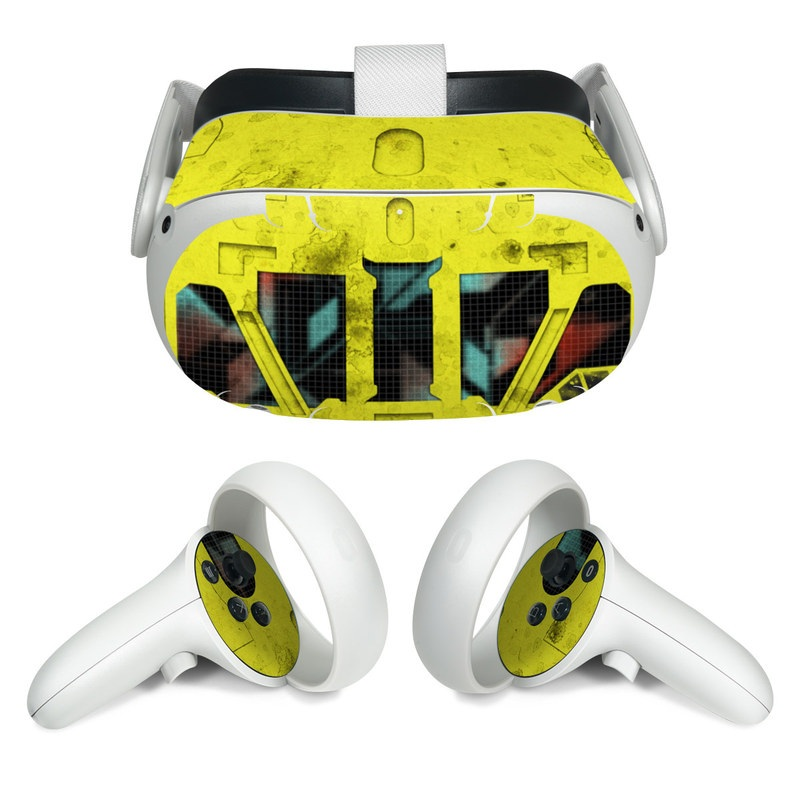 Oculus Quest 2 Skin design of Yellow, Green, Font, Pattern, Graphic design with black, yellow, gray, blue, green colors