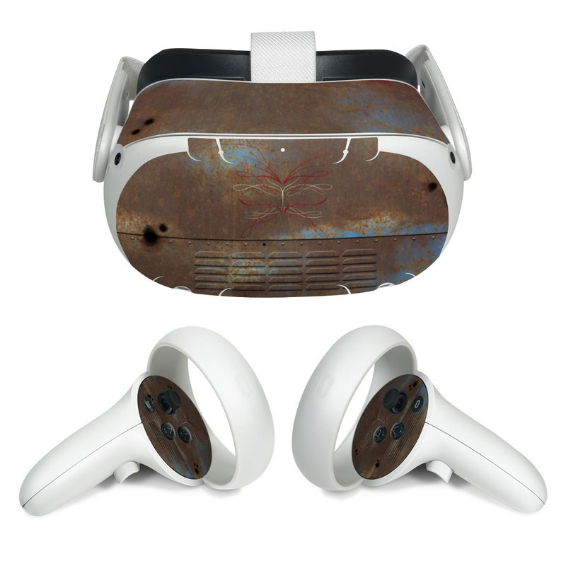 Oculus Quest 2 Skin design of Line, Visual arts, Symmetry, Concrete, Tints and shades, Painting, Art with blue, red, yellow, brown, black colors