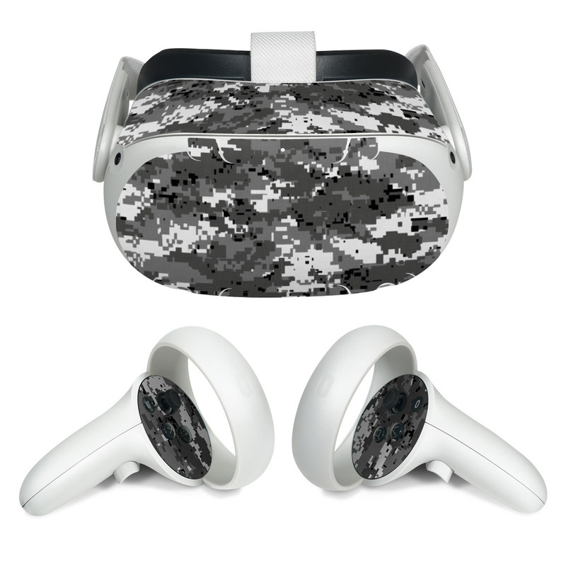 Oculus Quest 2 Skin design of Military camouflage, Pattern, Camouflage, Design, Uniform, Metal, Black-and-white with black, gray colors