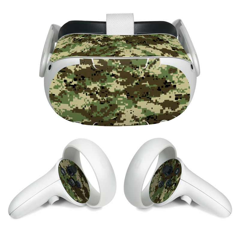 Oculus Quest 2 Skin design of Military camouflage, Pattern, Camouflage, Green, Uniform, Clothing, Design, Military uniform with black, gray, green colors