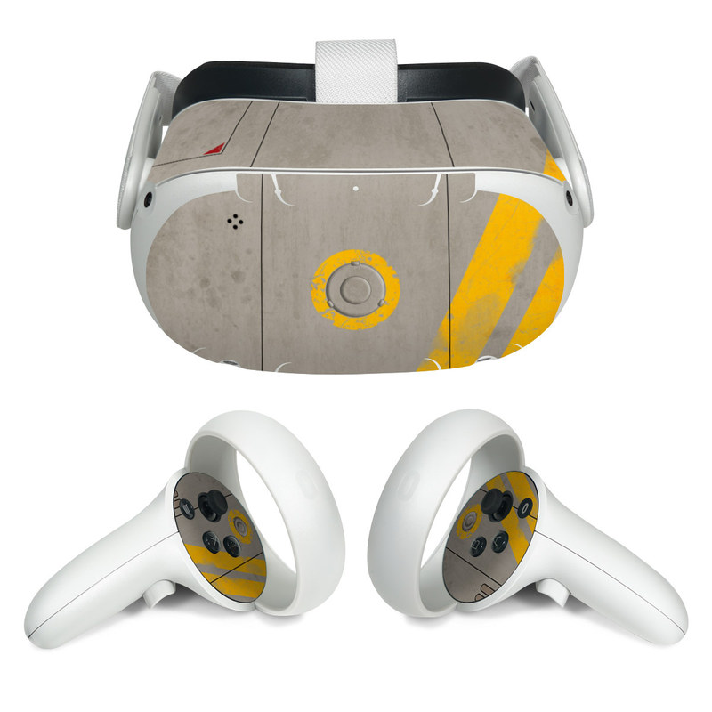 Oculus Quest 2 Skin design of Yellow, Wall, Line, Orange, Design, Concrete, Font, Architecture, Parallel, Wood with gray, yellow, red, black colors