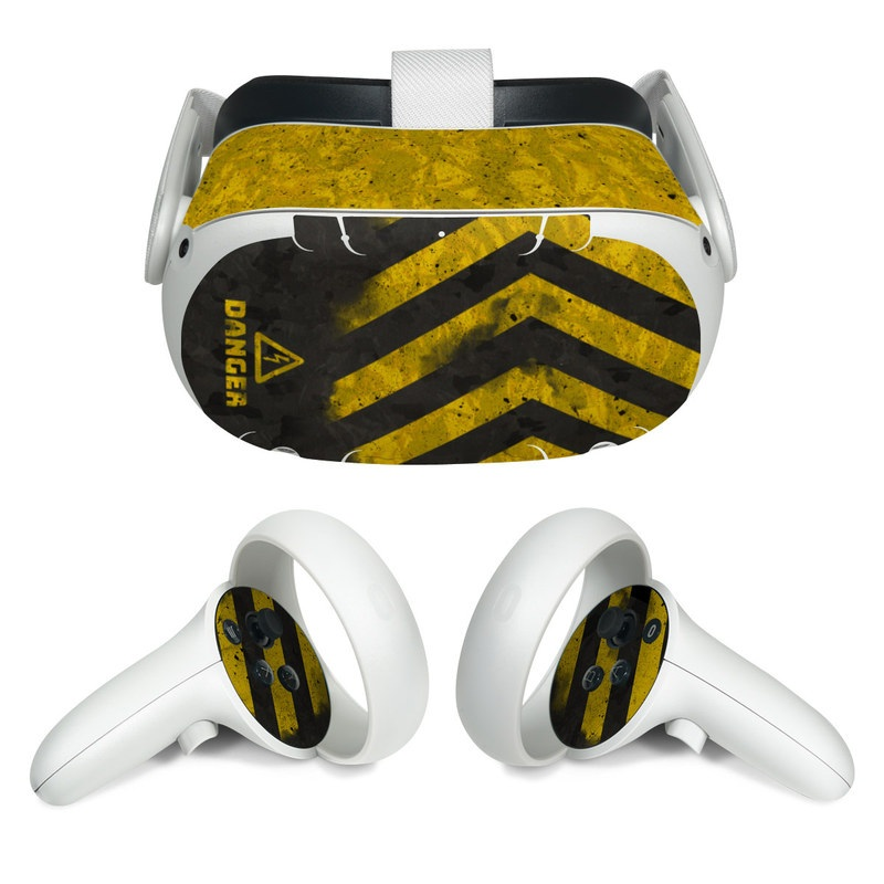 Oculus Quest 2 Skin design of Colorfulness, Road surface, Yellow, Rectangle, Asphalt, Font, Material property, Parallel, Tar, Tints and shades with black, gray, yellow colors
