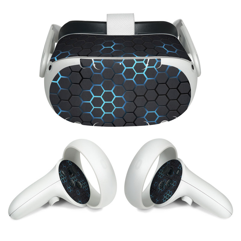 Oculus Quest 2 Skin design of Pattern, Water, Design, Circle, Metal, Mesh, Sphere, Symmetry with black, gray, blue colors