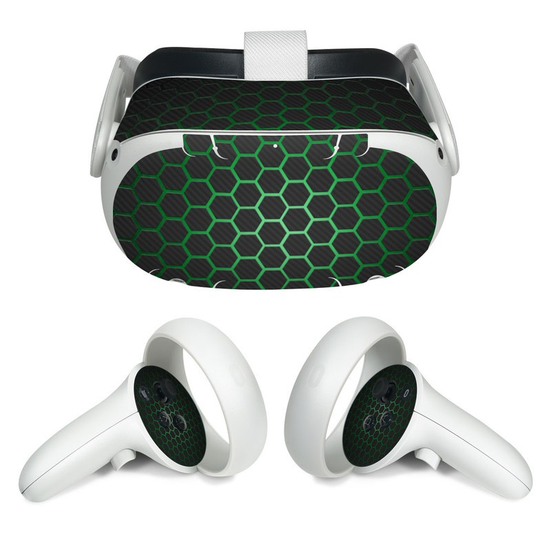 Oculus Quest 2 Skin design of Pattern, Metal, Design, Carbon, Space, Circle with black, gray, green colors