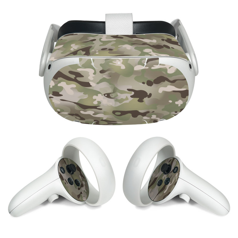Oculus Quest 2 Skin design of Military camouflage, Camouflage, Pattern, Clothing, Uniform, Design, Military uniform, Bed sheet with gray, green, black, red colors