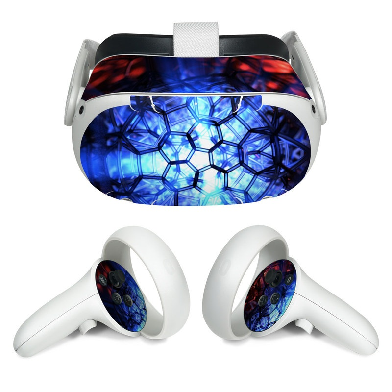 Oculus Quest 2 Skin design of Blue, Fractal art, Red, Light, Pattern, Lighting, Art, Kaleidoscope, Design, Psychedelic art with black, blue, red colors