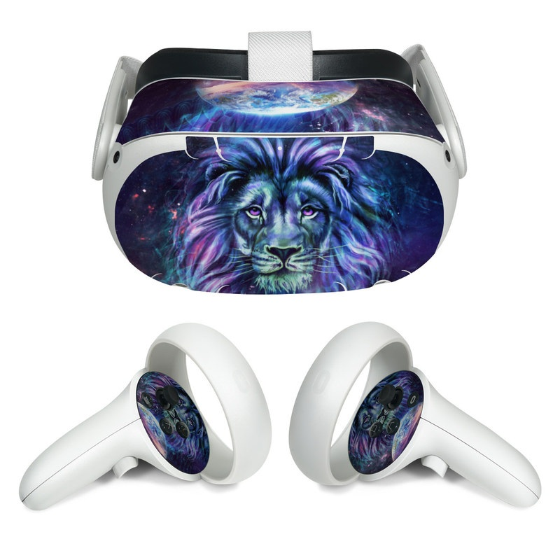Oculus Quest 2 Skin design of Lion, Felidae, Purple, Wildlife, Big cats, Illustration, Darkness, Space, Painting, Art with purple, blue, green, black, white, red colors