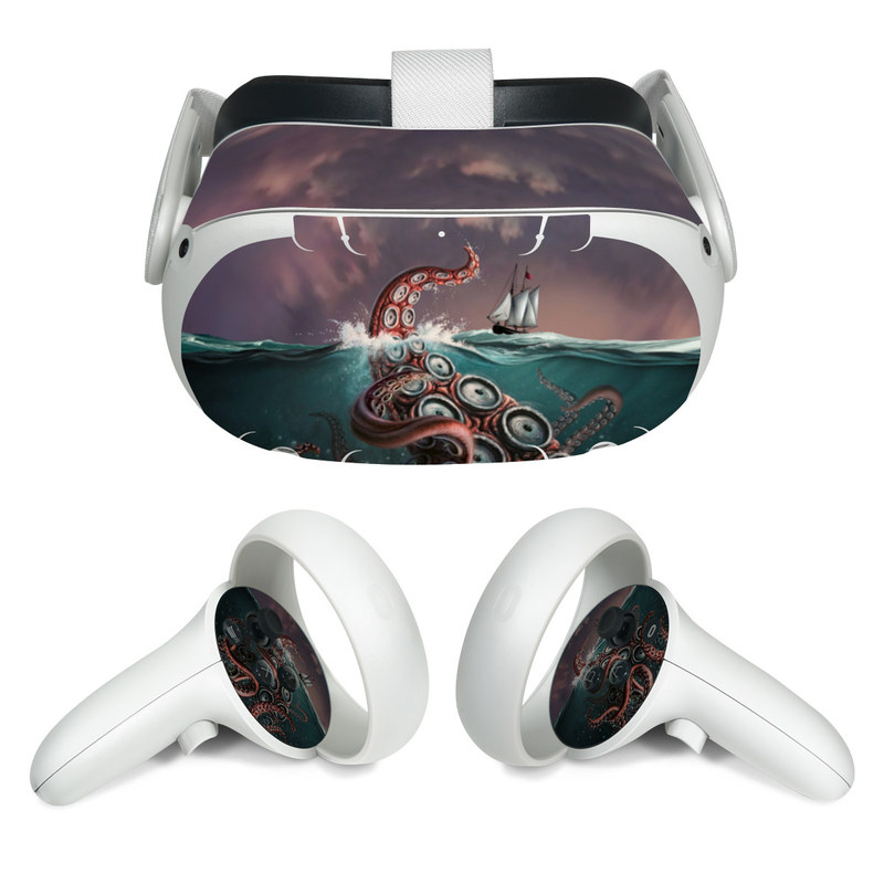 Oculus Quest 2 Skin design of Octopus, Water, Illustration, Wind wave, Sky, Graphic design, Organism, Cephalopod, Cg artwork, giant pacific octopus with blue, gray, white, brown, red colors