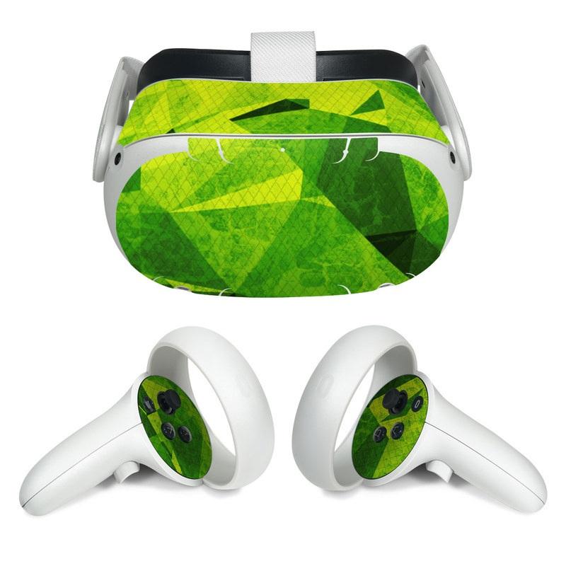 Oculus Quest 2 Skin design of Green, Pattern, Leaf, Design, Illustration with green colors