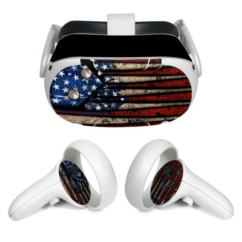 Oculus Quest 2 Skin design of Baseball bat, Baseball equipment with black, red, gray, green, blue colors
