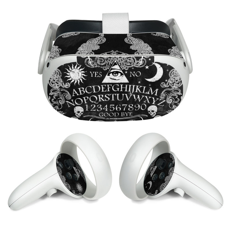 Oculus Quest 2 Skin design of Text, Font, Pattern, Design, Illustration, Headpiece, Tiara, Black-and-white, Calligraphy, Hair accessory with black, white, gray colors