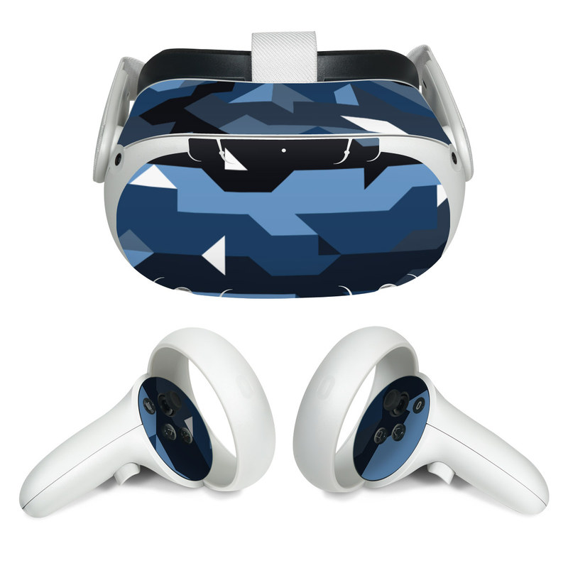 Oculus Quest 2 Skin design of Blue, Pattern, Design, Font, Line, Camouflage, Illustration, Triangle with blue, black, white, gray colors