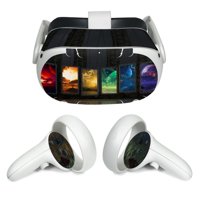 Oculus Quest 2 Skin design of Light, Lighting, Water, Sky, Technology, Night, Art, Geological phenomenon, Electronic device, Glass with black, red, green, blue colors