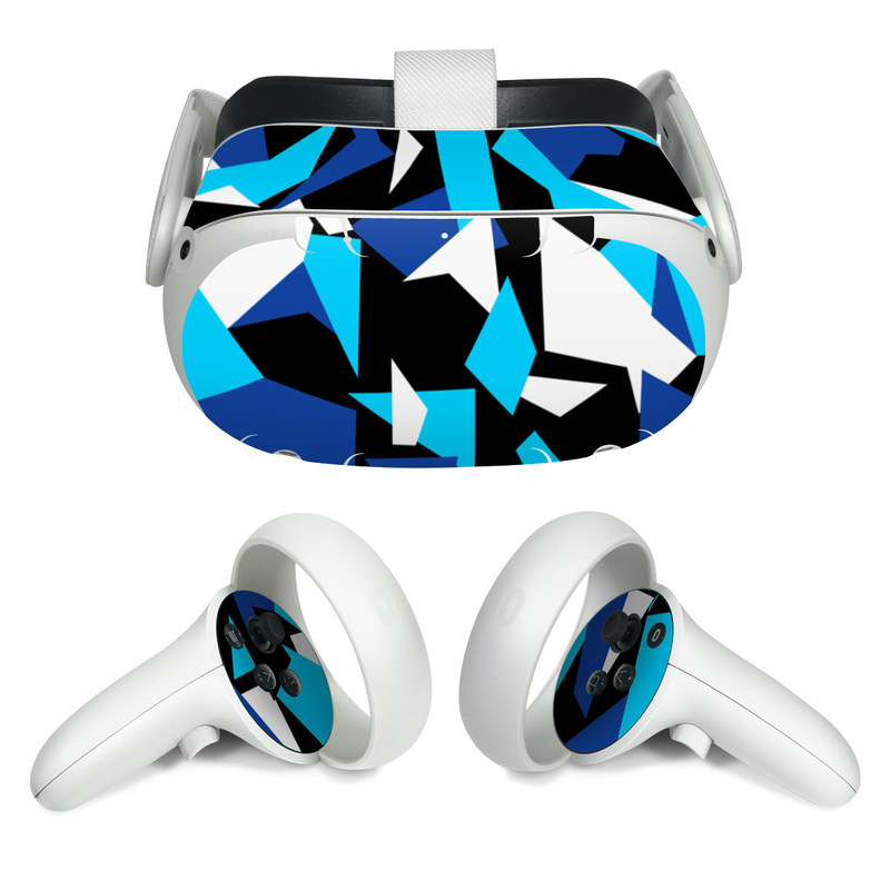 Oculus Quest 2 Skin design of Blue, Pattern, Turquoise, Cobalt blue, Teal, Design, Electric blue, Graphic design, Triangle, Font with blue, white, black colors