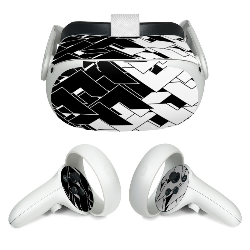 Oculus Quest 2 Skin design of Pattern, Black, Black-and-white, Monochrome, Monochrome photography, Line, Design, Parallel, Font with black, white colors