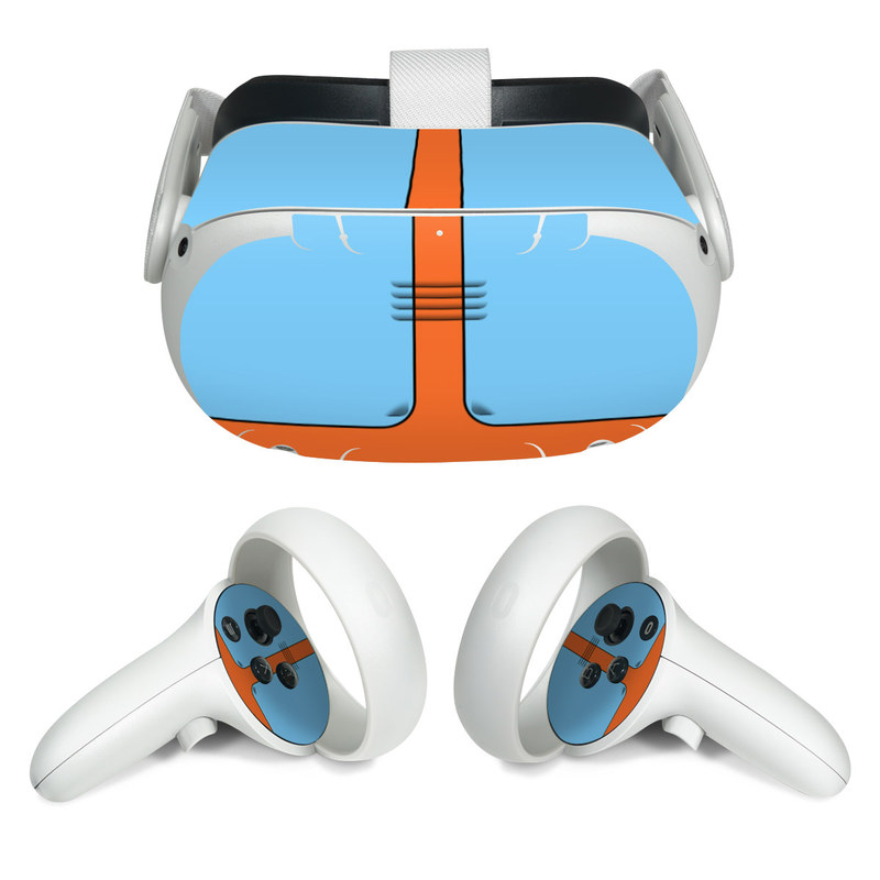 Oculus Quest 2 Skin design of Line with blue, orange, black colors