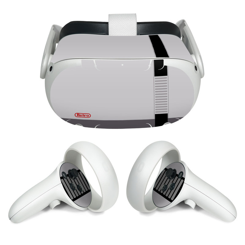 Oculus Quest 2 Skin design of Text, Font, Red, Product, Logo, Brand, Material property, Graphics, Rectangle with gray, black, red colors