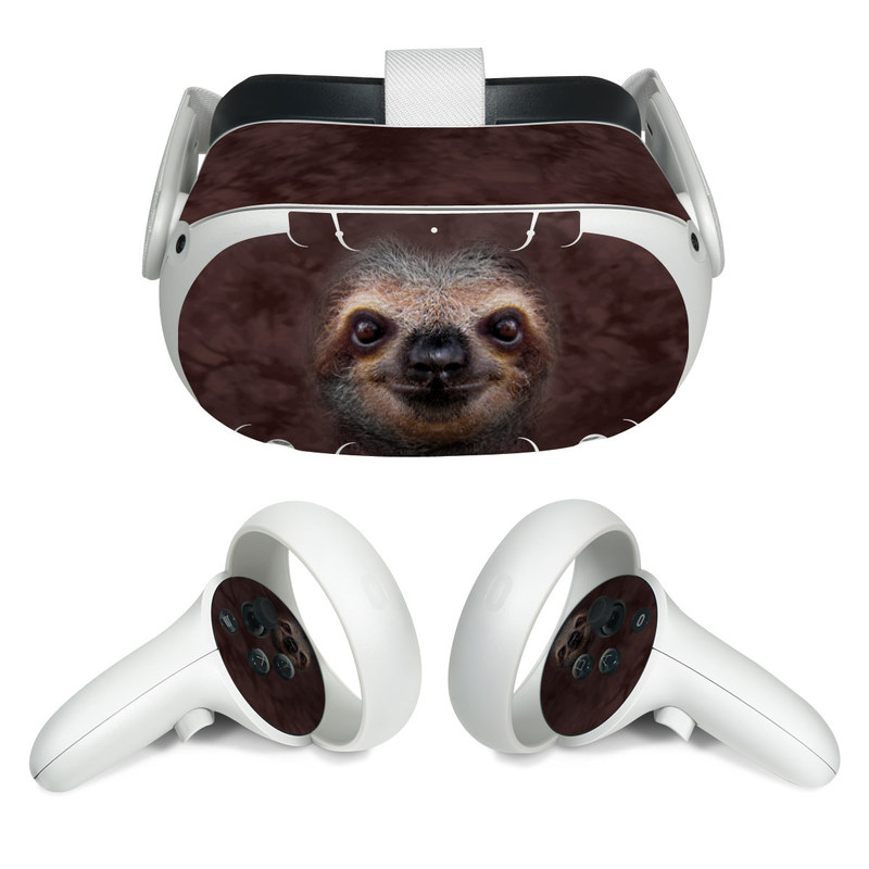 Oculus Quest 2 Skin design of Three-toed sloth, Sloth, Snout, Head, Close-up, Nose, Two-toed sloth, Terrestrial animal, Eye, Whiskers with black, gray, red, green colors