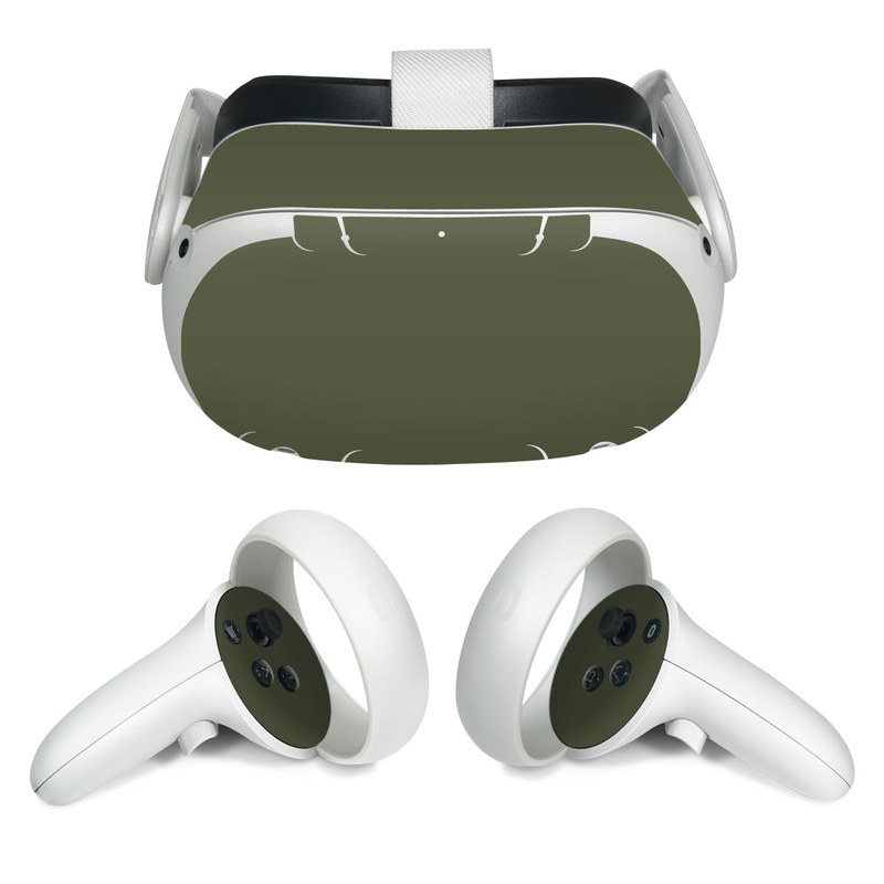 Oculus Quest 2 Skin design of Green, Brown, Text, Yellow, Grass, Font, Pattern, Beige with green colors