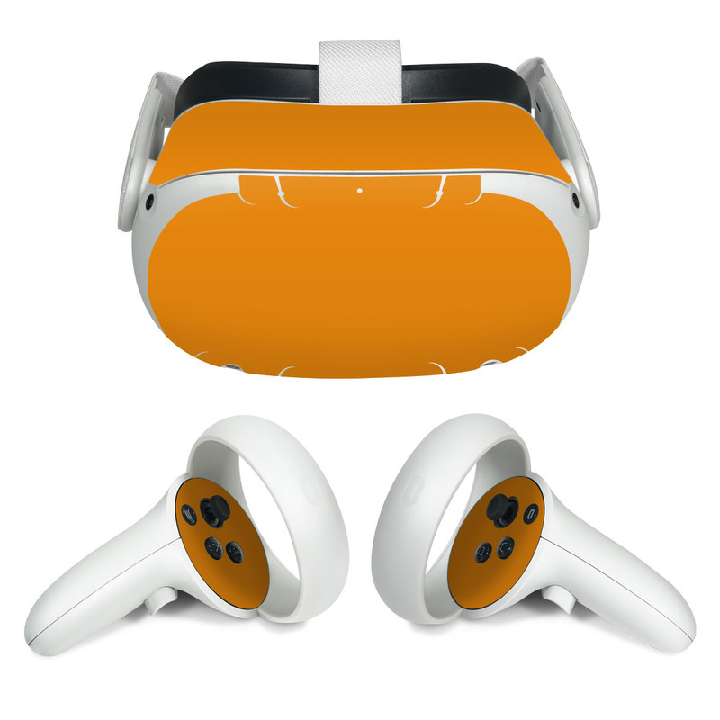 Oculus Quest 2 Skin design of Orange, Yellow, Brown, Text, Amber, Font, Peach with orange colors