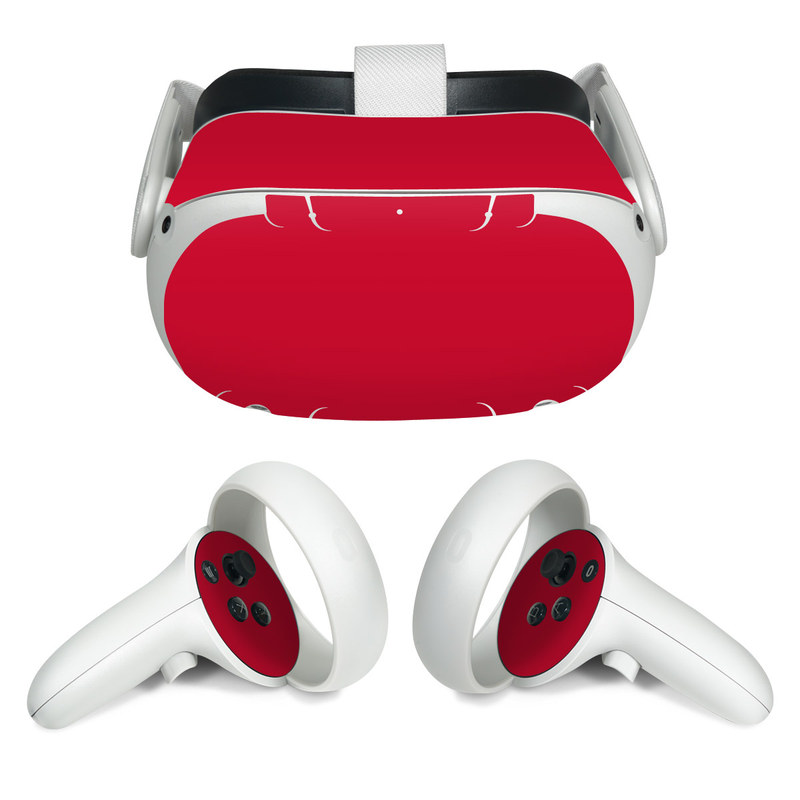 Oculus Quest 2 Skin design of Red, Pink, Maroon, Purple, Orange, Violet, Magenta, Material property, Font, Peach with red colors