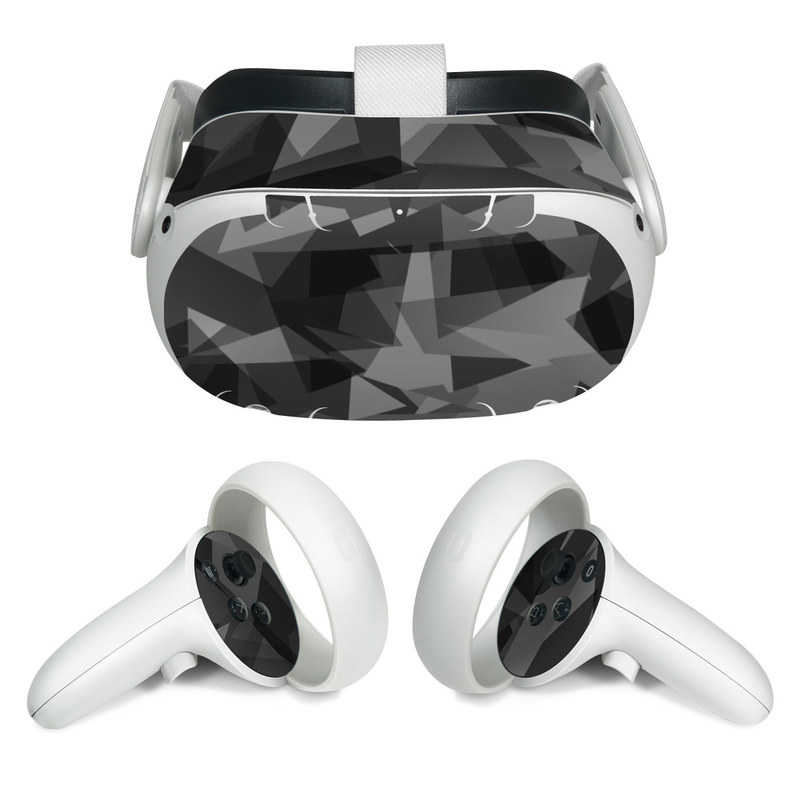 Oculus Quest 2 Skin design of Black, Pattern, Triangle, Black-and-white, Monochrome, Grey, Design, Line, Architecture, Monochrome photography with black, gray colors