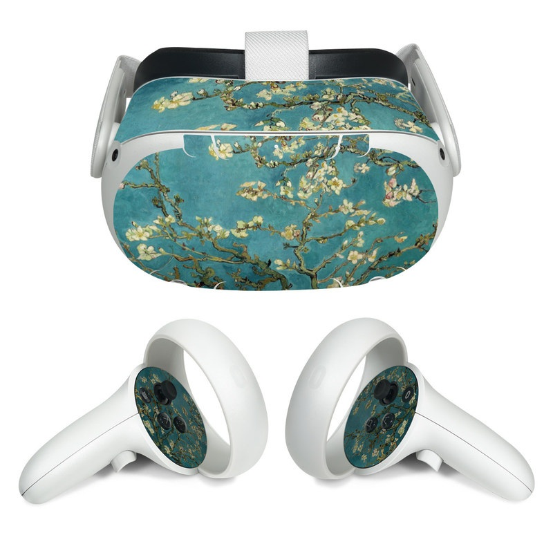 Oculus Quest 2 Skin design of Tree, Branch, Plant, Flower, Blossom, Spring, Woody plant, Perennial plant with blue, black, gray, green colors