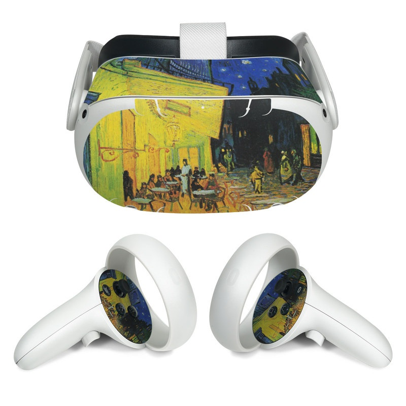 Oculus Quest 2 Skin design of Painting, Art, Yellow, Watercolor paint, Illustration, Modern art, Visual arts, Street, Infrastructure, Tree with green, black, blue, gray, red colors
