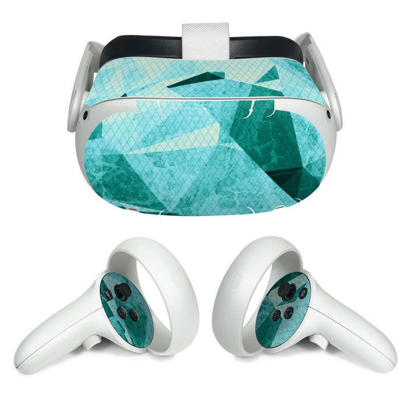 Oculus Quest 2 Skin design of Aqua, Blue, Pattern, Turquoise, Illustration, Teal, Design, Line, Graphic design with blue colors