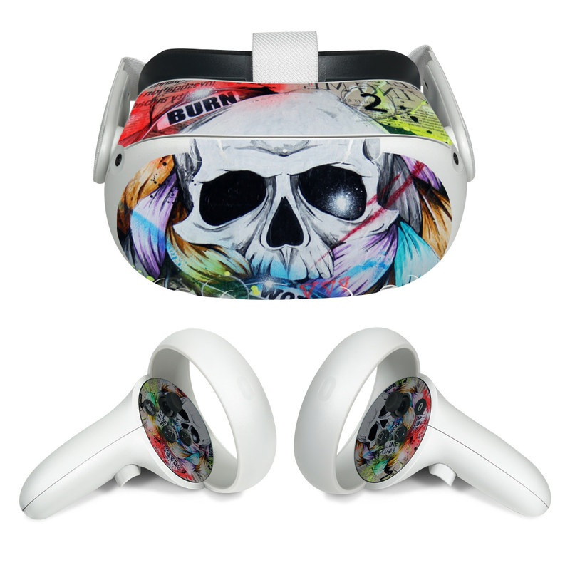 Oculus Quest 2 Skin design of Street art, Text, Graphic design, Font, Illustration, Art, Graffiti, Skull, Poster, Advertising with gray, black, red, green, blue colors
