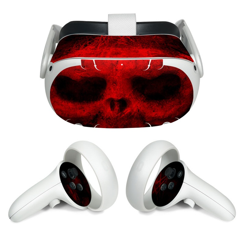 Oculus Quest 2 Skin design of Red, Skull, Bone, Darkness, Mouth, Graphics, Pattern, Fiction, Art, Fractal art with black, red colors