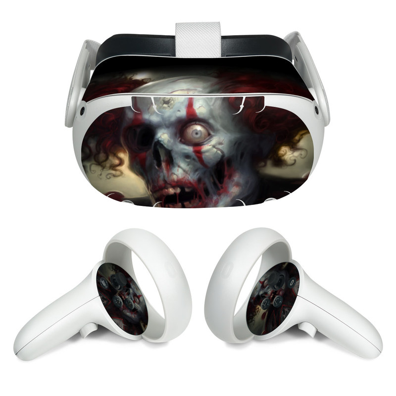 Oculus Quest 2 Skin design of Illustration, Fictional character, Fiction, Supervillain, Demon, Art, Zombie, Ghost, Supernatural creature, Flesh with black, gray, green, red colors
